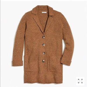 NWT JCREW donegal sweater-coat CAMEL M